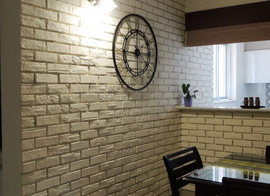 stone cladding wall and clock