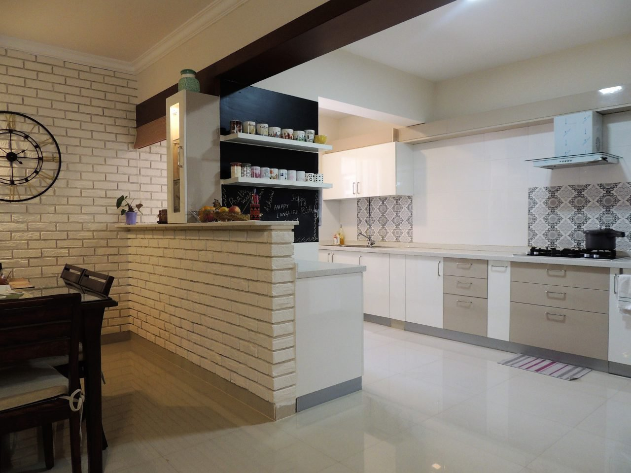 breakfast counter and kitchen