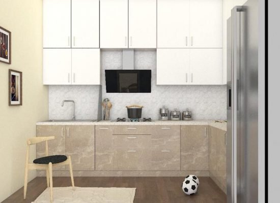 kitchen design in 3d for an apartment in bangalore