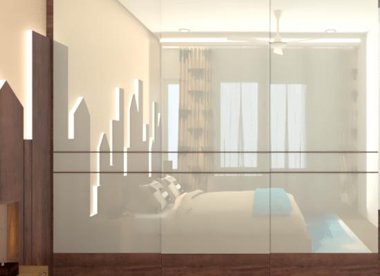 wardrobe with full length glass sliding doors
