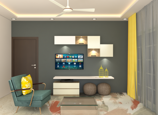 living room design in 3d
