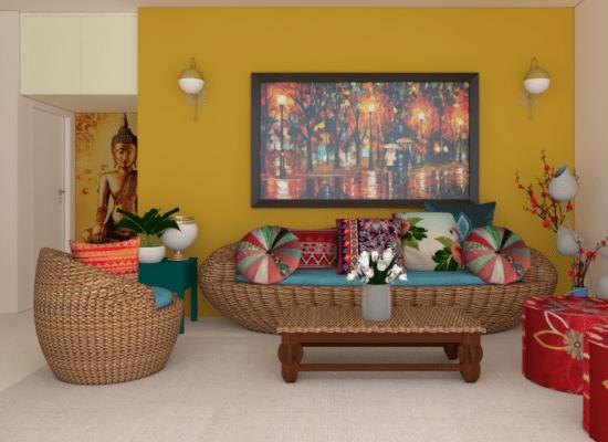 living room design in 3d