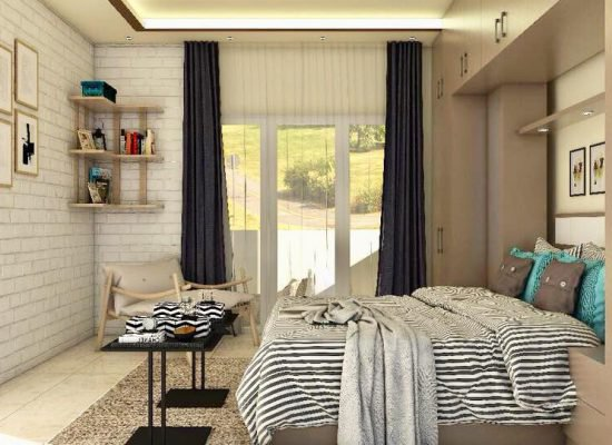 bedroom design in 3d for an apartment in bangalore