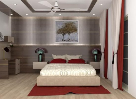 bedroom cum study design in 3d for an apartment in bangalore