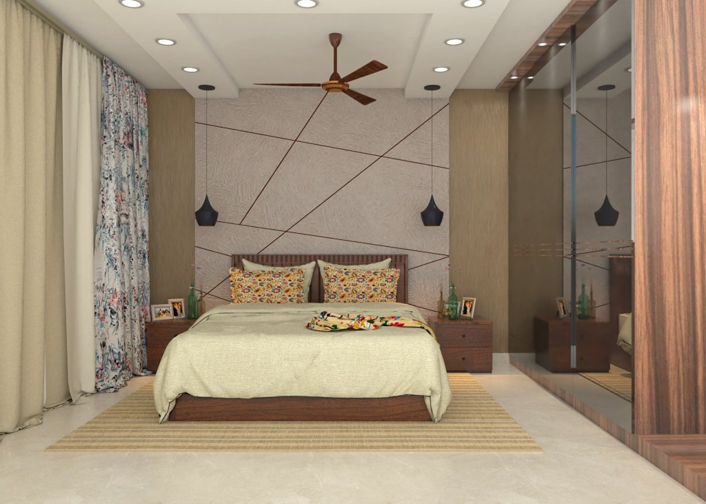 bedroom interiors design in 3d for an apartment in rohan iksha at bangalore