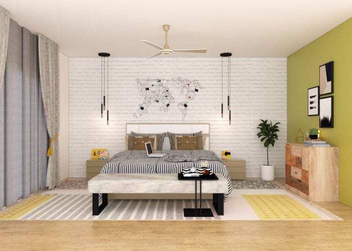 bedroom design brick cladding