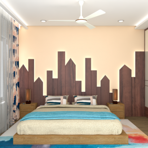 bedroom design in 3d with backlit panel behind bed